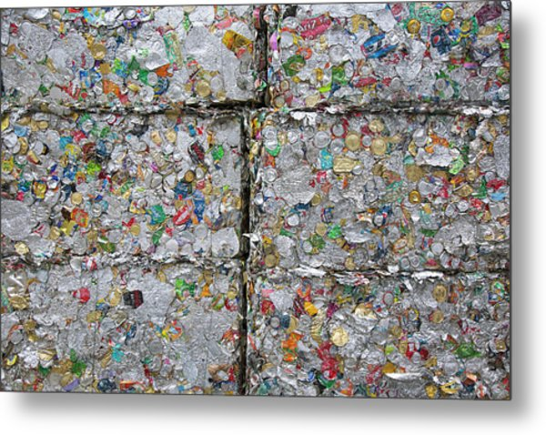 Metal Cans At A Recycling Centre Metal Print