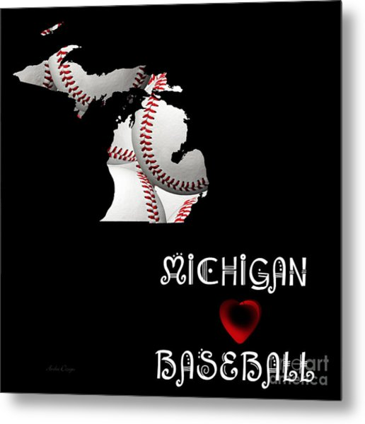 Michigan Loves Baseball Metal Print