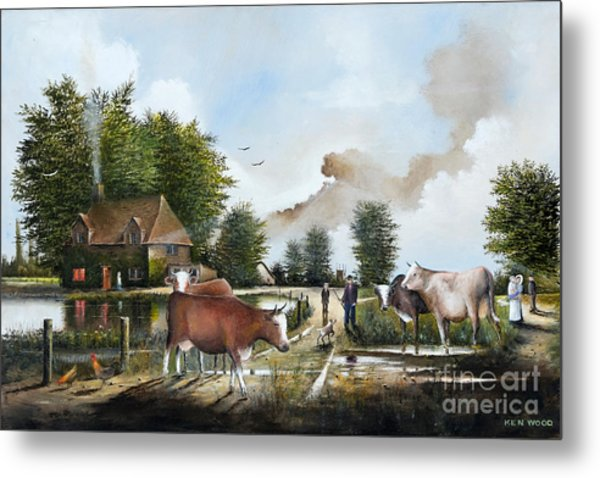 Milking Time Metal Print