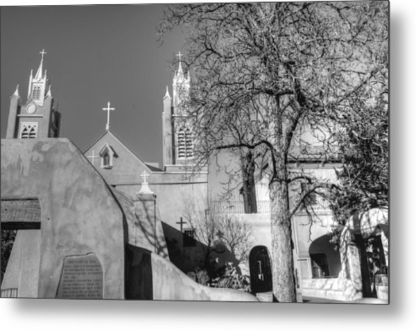 Mission In Black And White Metal Print