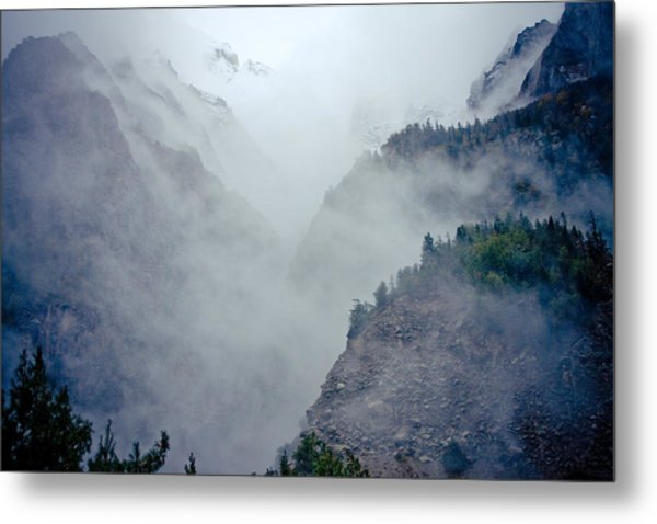 Metal Print featuring the photograph Mist In Mountain Mystery Forest by Raimond Klavins