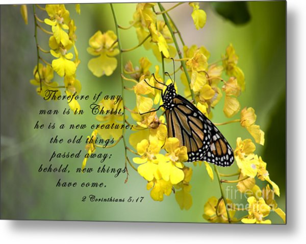 Monarch Butterfly With Scripture Metal Print
