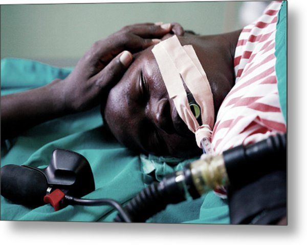 Monitoring A Patient's Heart Rate Metal Print by Mauro Fermariello/science Photo Library