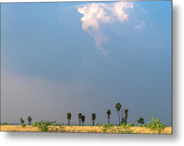 Monsoon Clouds Over Landscape Metal Print by K Jayaram