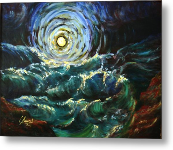 Moon And Waves Metal Print