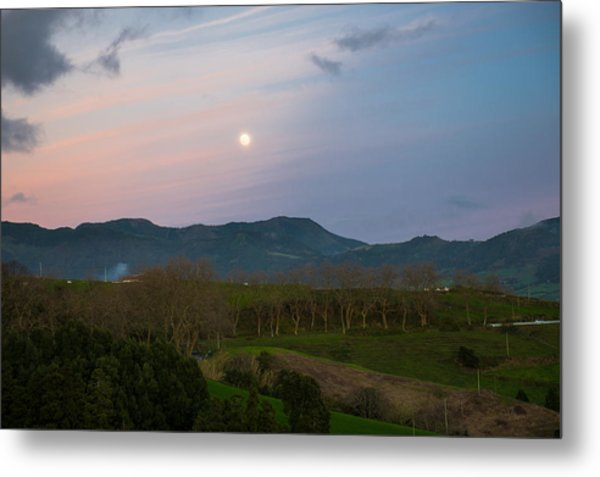 Moon Over The Hills Of Povoacao Metal Print