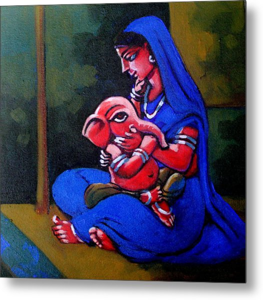 Mother And Child. Metal Print by Abhijit Banerjee