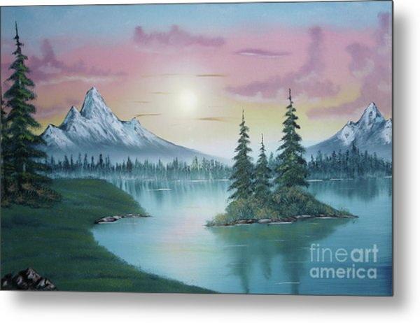 Mountain Lake Painting A La Bob Ross 1 Metal Print