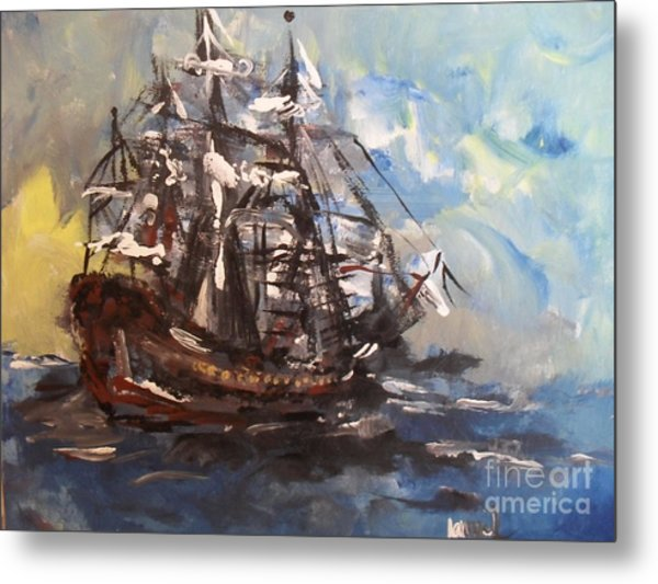 Metal Print featuring the painting My Ship by Laurie Lundquist