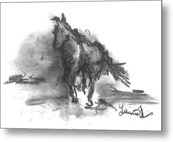 Metal Print featuring the drawing My Stallion by Laurie Lundquist