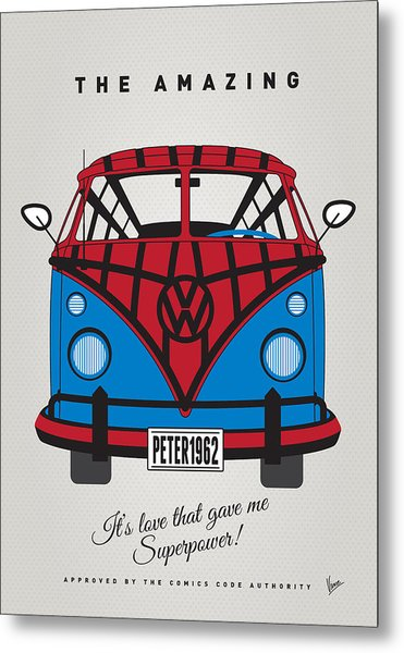 My Superhero-vw-t1-spiderman Metal Print