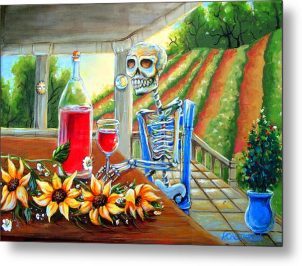 Napa Wine Skeleton Metal Print