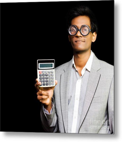 Nerdy Asian Accountant Or Maths Genius Metal Print
