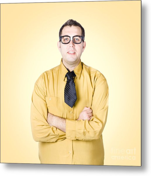 Nice Nerd Business Salesman On Yellow Background Metal Print