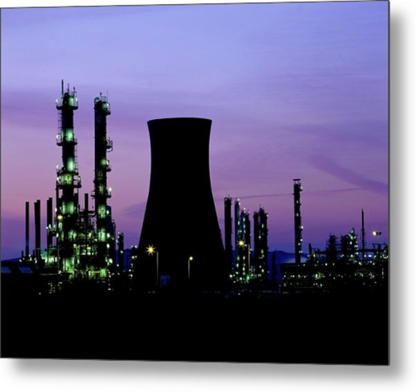 Night Time View Of A Bp Petrochemical Plant Metal Print