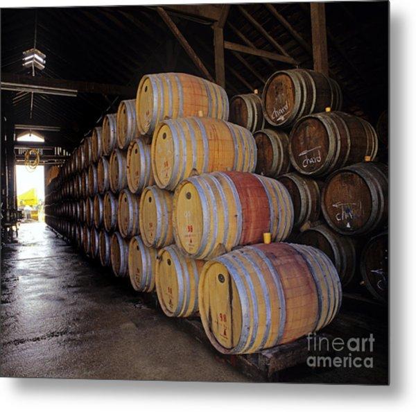 Oak Barrels At Ventana Vineyards Metal Print