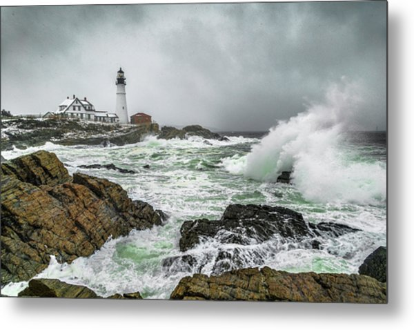 Ocean Storm At Portland Head Metal Print