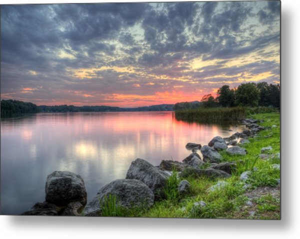 Ohio Lake Sunset Metal Print