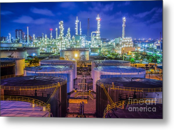 Oil Refinary Industry  Metal Print