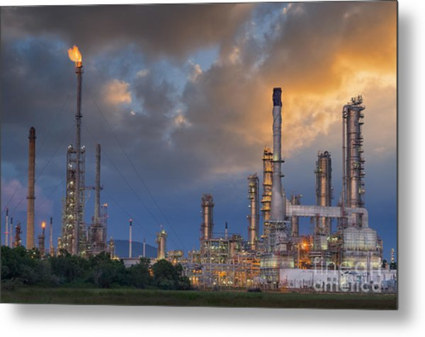 Oil Refinery Along Twilight Sky Metal Print