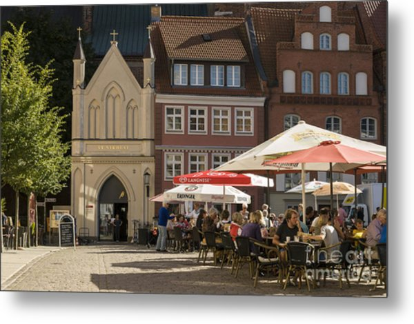 Old Market Square Stralsund Germany Metal Print by David Davies