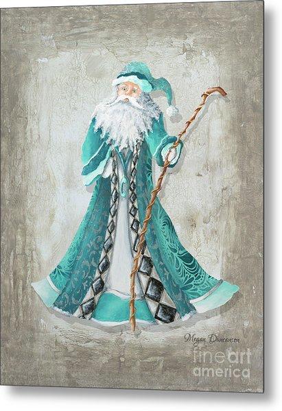 Old World Style Turquoise Aqua Teal Santa Claus Christmas Art By Megan Duncanson Metal Print