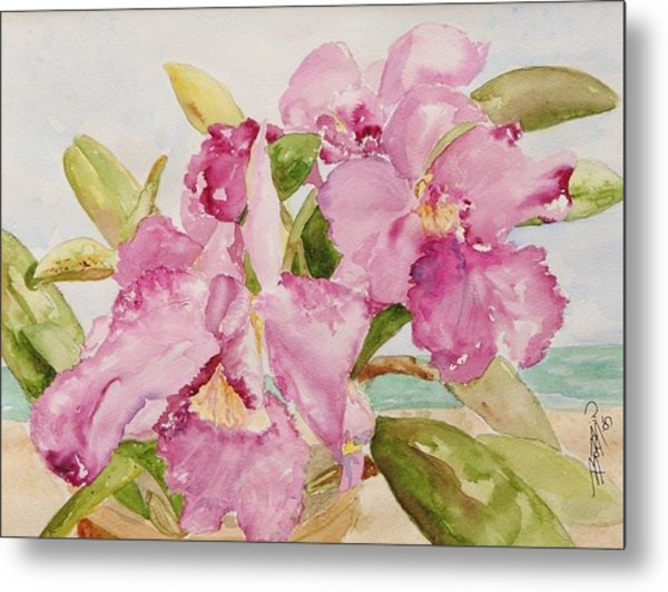 Orchid On The Beach Metal Print