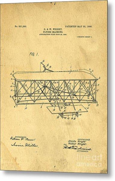 Original Patent For Wright Flying Machine 1906 Metal Print