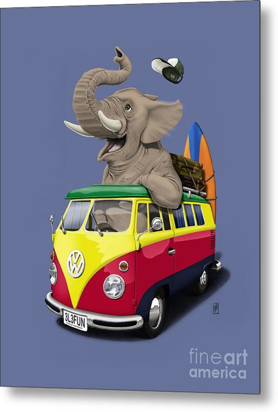 Pack The Trunk Colour Metal Print