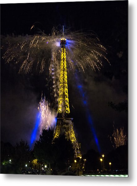 Paris - July Famous Fireworks Near Eiffel Tower During Celeb Metal Print