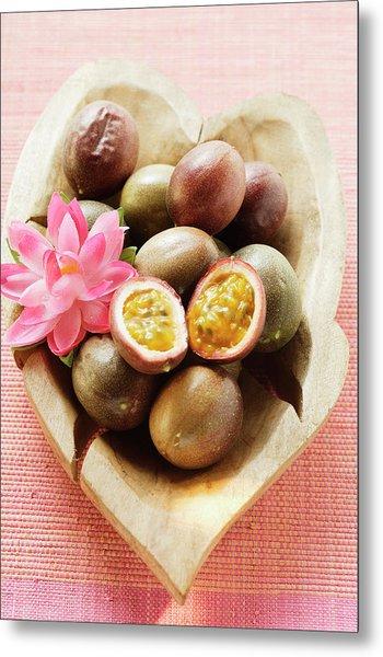 Passion Fruits (purple Granadilla) In Wooden Bowl Metal Print