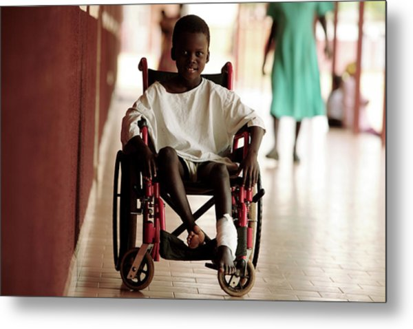 Patient In A Wheelchair Metal Print by Mauro Fermariello/science Photo Library