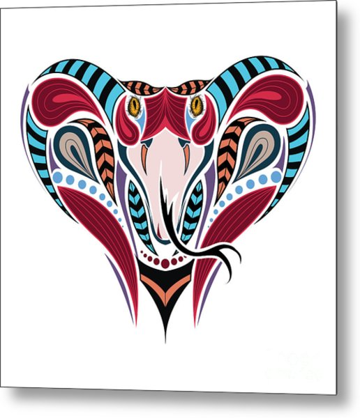 Patterned Colored Head Of The King Metal Print
