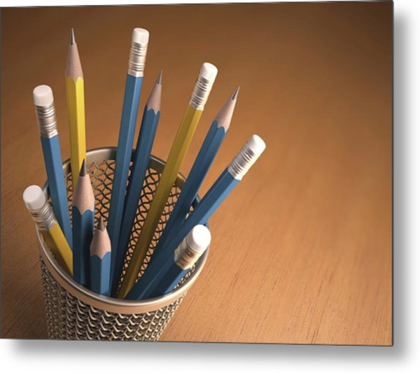Pencils In A Pot Metal Print by Ktsdesign