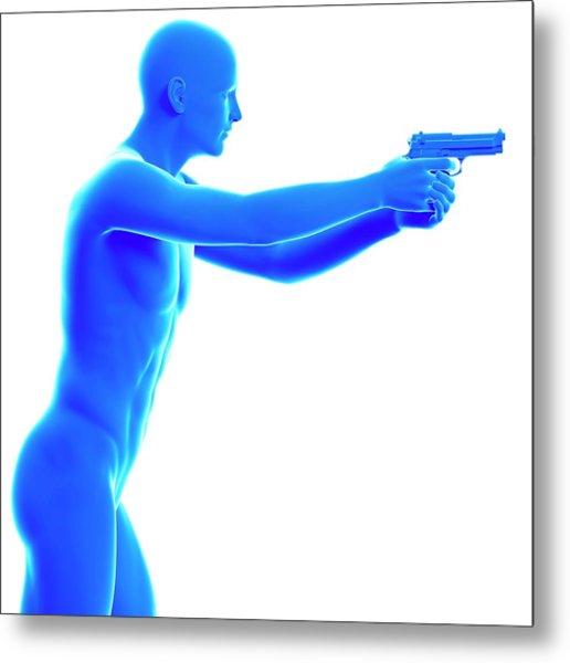 Person Holding Gun Metal Print by Sebastian Kaulitzki/science Photo Library