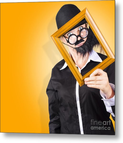 Person Setting Their Social Media Profile Picture Metal Print