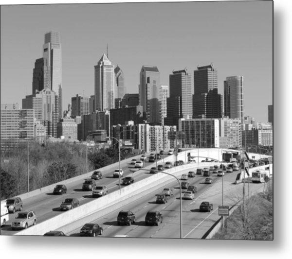 Philadelphia Skyline Black And White Metal Print