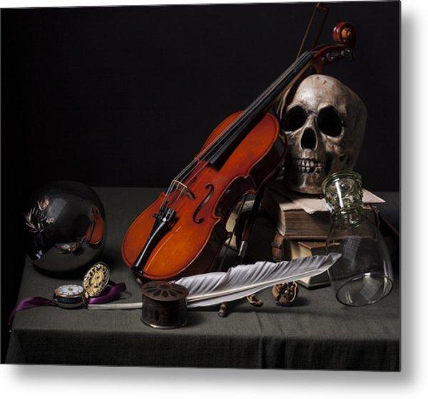 Pieter Claesz - Vanitas Still Life With Violin And Glass Ball - 1628 Metal Print