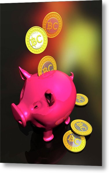 Piggy Bank And Bitcoins Metal Print by Victor Habbick Visions