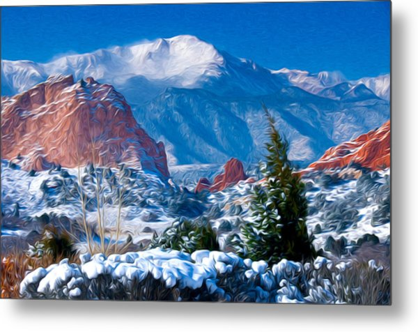 Pikes Peak In Winter Metal Print