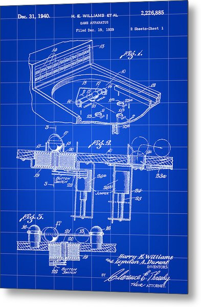 Pinball Machine Patent 1939 - Blue Metal Print