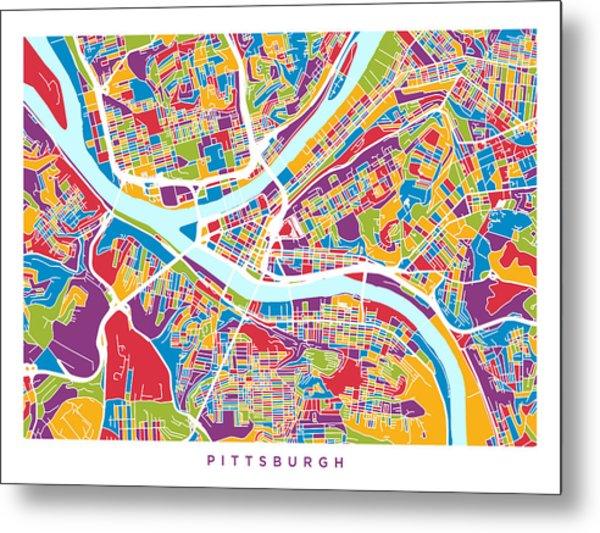 Pittsburgh Pennsylvania Street Map Metal Print