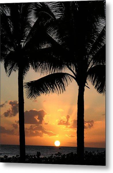 Poipu Beach Sunset Metal Print