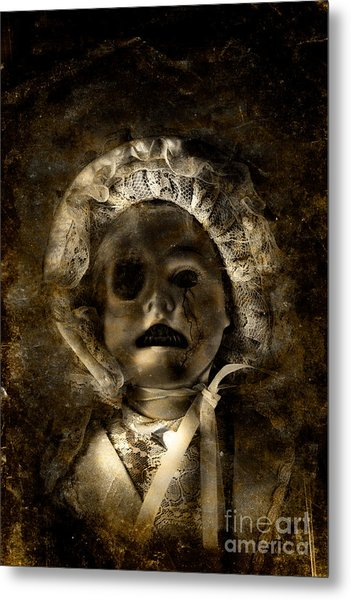 Porcelain Doll Crying Tears Of Cracks Metal Print