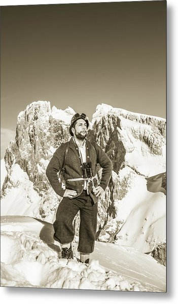 Portrait Of A Bearded Man In Old Nostalgic Skiing Outfit Metal Print by Leander Nardin