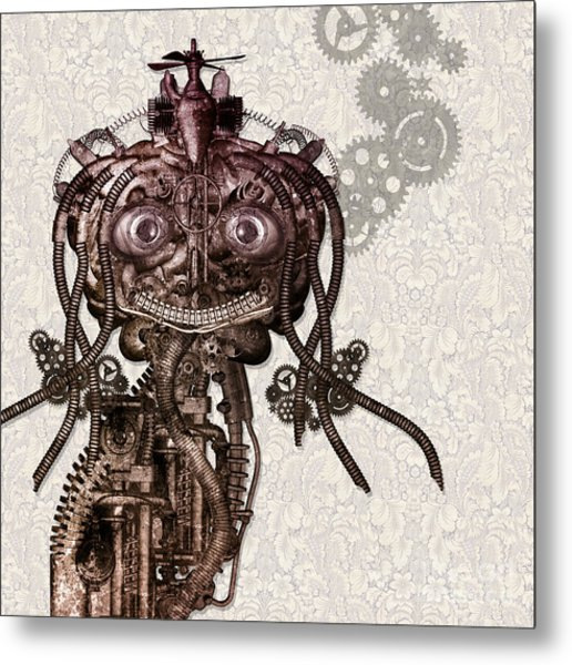 Portrait Of An Antique Cyborg Girl Metal Print