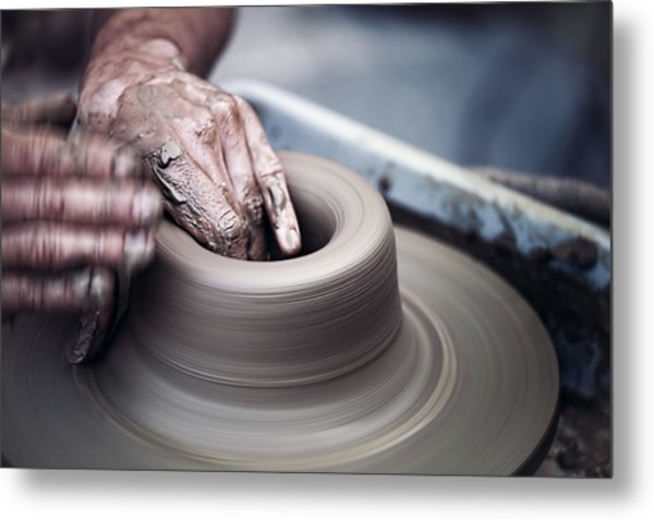 Pottery Wheel Metal Print