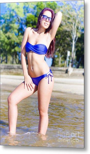 Pretty Woman Wearing Bikini Sunbathing At The Beach Metal Print
