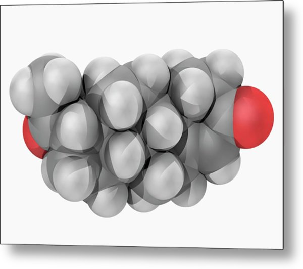 Progesterone Hormone Molecule Metal Print by Laguna Design/science Photo Library