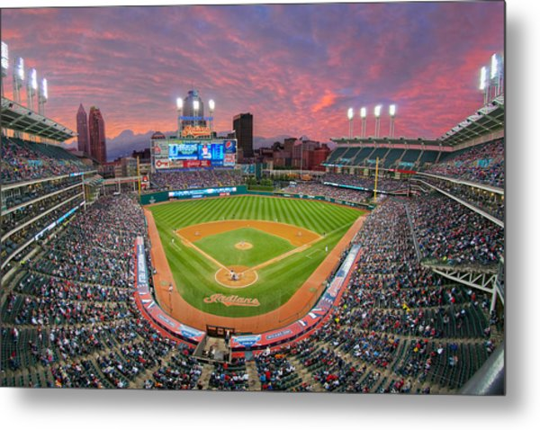 Progressive Field Sunset Metal Print